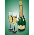 Champagne glasses and vine grapes vector image vector image