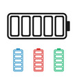 charged battery icon in different colors blue red vector image vector image