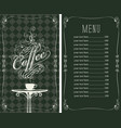 Coffee menu with a price list and cup of coffee