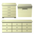 cream drawer dresser with bedside night stand and vector image