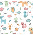 cute seamless pattern with hand drawn animals vector image vector image