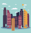 day cityscape skyline with sun vector image vector image