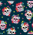 day dead skull with floral ornament and vector image
