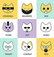 Flat line icons modern style with different faces vector image