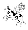 flying cow farm animal coloring vector image vector image
