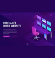 freelance work website isometric landing page vector image