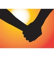 Hands of couple in love Sunset as background vector image vector image