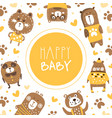 Happy babanner template with cute brown bears