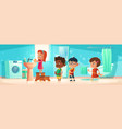 kids washing hands stand in queue at home bathroom vector image vector image