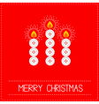 Merry Christmas candles button red vector image vector image