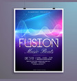 music beats party flyer template with sound waves vector image