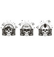 music skull set hand drawn vector image vector image
