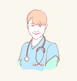 online medical assistant doctor support hand drawn vector image vector image