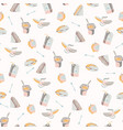 packed lunch seamless pattern hand drawn flat vector image