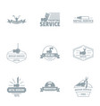 painting services logo set simple style vector image