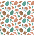 pattern with paper tulips eggs vector image vector image