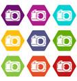 photo camera icons set 9 vector image