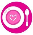 Pink Valentines love soup in circle vector image vector image
