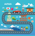road map and journey route in japan vector image vector image
