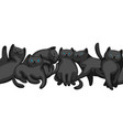 Seamless pattern with cartoon black cats