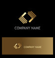 shape circle square gold logo vector image