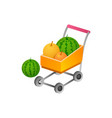 shopping cart with fress fruit isometric symbol vector image