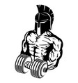 spartan with dumbbell in hand vector image