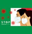 stop coronavirus men women in medical mask vector image
