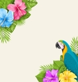 Summer Exotic Background with Parrot Ara Hibiscus vector image vector image