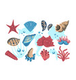 underwater world set vector image vector image