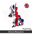 united kingdom great britain map and flag vector image