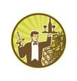Waiter Serving Wine Grapes Barrel Retro vector image vector image
