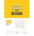 wall calendar template for august 2019 design vector image vector image