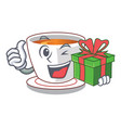 with gift cup mint tea isolated with character vector image vector image