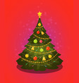 xmas tree christmas decorations vector image vector image