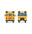 yellow school bus front rear view pupils transport vector image vector image