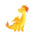 cute yellow dragon vector image