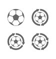 Soccer ball icon with arrows vector image