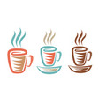 a cup with coffee or tea in retro vector image