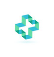 abstract cross logo template blue medical symbol vector image vector image