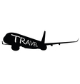 airplane with travel word on it vector image vector image