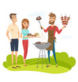 bbq party with friends vector image vector image