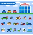 Car Dealership Flat Icons Composition Banner vector image vector image