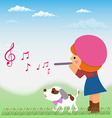 Cartoon little girl is playing on the flute from vector image vector image