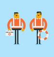caucasian doctors with first aid box and lifebuoy vector image vector image