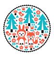 children pattern scandinavian cute folk design vector image