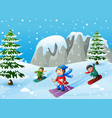 children playing winter sports in the hill vector image vector image