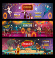 circus show clown animals magician and acrobats vector image vector image