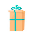 closeup of packed box decorated by green ribbon vector image vector image