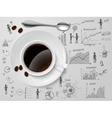 Coffee cup on business sketch vector image